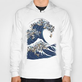 The Great Wave of Pugs Vanilla Sky Hoody