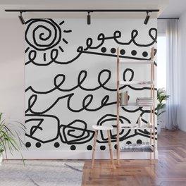 Crashing Waves - Black and White Wall Mural