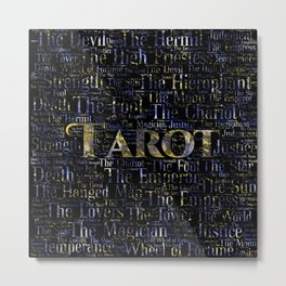 Tarot Major Arcana Word Art  Gold and Gemstone Metal Print