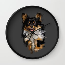 Long Hair Chihuahua On the Run Wall Clock