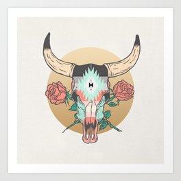 cráneo de vaca Art Print