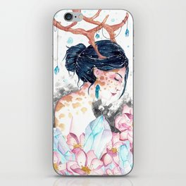 Watercolor fantasy painting - Crystal Reindeer Girl iPhone Skin