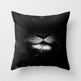lion, black and white Throw Pillow