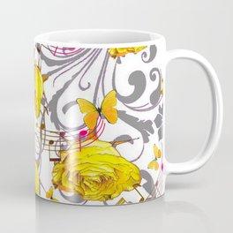 MUSICAL BUTTERFLIES FESTIVAL & YELLOW ROSE SCROLLS Coffee Mug