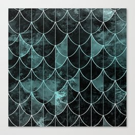 Mermaid scales. Mint and black. Canvas Print