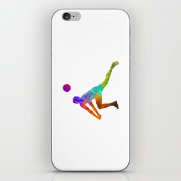 Volley ball player man 03 in watercolor iPhone Skin