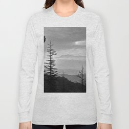 Rainbow clouds at the mountains at sunrise. BW Long Sleeve T-shirt