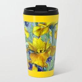 Decorative Mustard Yellow Iris Garden Art Design Travel Mug