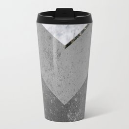 Marble Gray Copper Black Gold Chevron Travel Mug