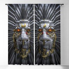 Hear Me Roar / 3D render of serious metallic robot lion Blackout Curtain
