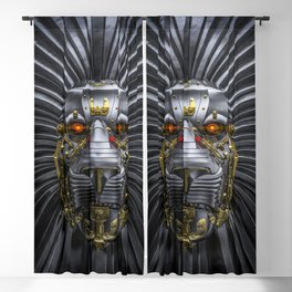 Hear Me Roar / 3D render of serious metallic robot lion Blackout Curtain