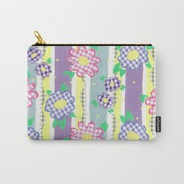 Gingham Floral Spring Stripe by Nettie Heron-Middleton Carry-All Pouch