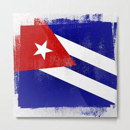 Cuba Distressed Halftone Denim Flag Metal Print