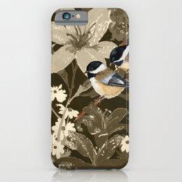Bird-Chickadees with Lillies iPhone Case