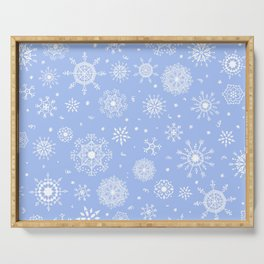 Snowflake white patten on a blue background Serving Tray