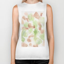 180714 Green Brown Abstract Watercolour 20| Watercolor Brush Strokes Biker Tank