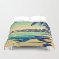 coachella Duvet Covers featuring Summer Love Vintage Beach by RexLambo