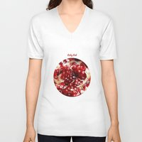 pomegranate V-neck T-shirts featuring Pomegranate  by Libertad Leal Photography