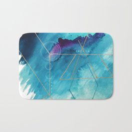 Galaxy Series [1]: an abstract mixed media piece in blue, purple, white, and gold Bath Mat