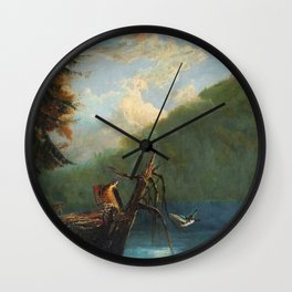 Old Man in the Mountain, White Mountains, New Hampshire landscape painting by Thomas Hill Wall Clock