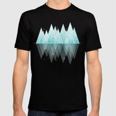 Winter Geometric Mountain  Mens Fitted Tee Black SMALL