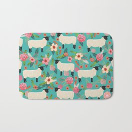 Suffolk Sheep farm floral cute animals sheep lover nature florals pattern homestead gifts Bath Mat