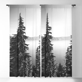 Mountain Lake Forest Black and White Nature Photography Blackout Curtain