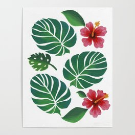 Hibiscuses and Palm Leaves Poster