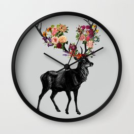 Spring Itself Deer Floral Wall Clock