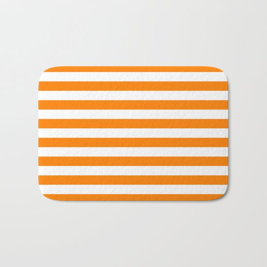 Horizontal Stripes (Orange/White) Bath Mat