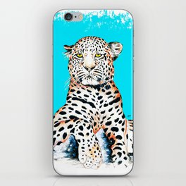 Leopard King Ink Blue iPhone Skin
