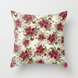 Poinsettia Pattern Throw Pillow
