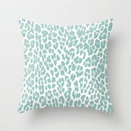 Mint Leopard Print Throw Pillow