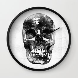 Black And White Skull by Sharon Cummings Wall Clock