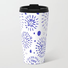 Abstract watercolor sparkles – blue Travel Mug
