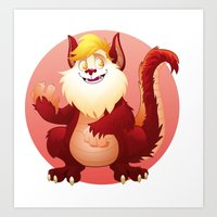 thundercats Art Prints featuring tribute to SNARF-from THUNDERCATS-circle by JG-OBERON