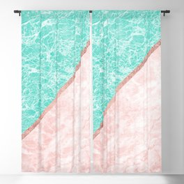 Turquoise teal pink rose gold geometrical marble Blackout Curtain