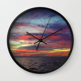 Fall sunset above Lake St. Clair, Canada Wall Clock