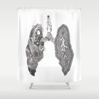 lungs Shower Curtains featuring Lungs by Alexander.Leake
