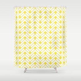 Herringbone Yellow Shower Curtain
