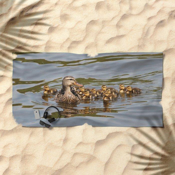 Mallard Duck And Ducklings Beach Towel