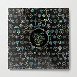Decorative Chinese Money tree Abalone Shell Metal Print