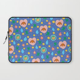 Flowery Dog and Cat Laptop Sleeve