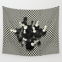 Chessboard and 3D Chess Pieces composition Wall Tapestry