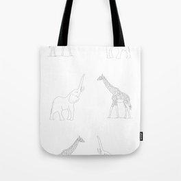 Giraffe And Elephant With Big Icon Tote Bag