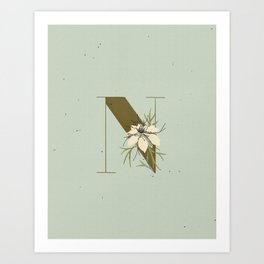 N for Nigella Botanical Monogram Art Print