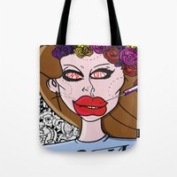ultraviolence Tote Bags featuring Fame Kills  by Luc Étrier