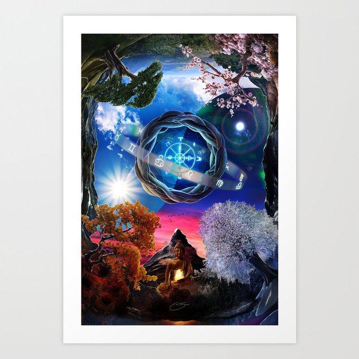 X . The Wheel Tarot Card Illustration Art Print
