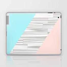 Abstract gray wood coral aqua color block Laptop & iPad Skin
