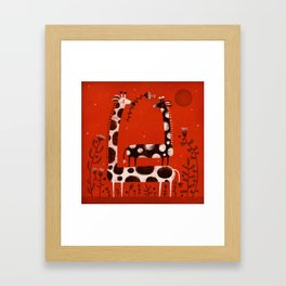 PIGGY BACK GIRAFFE Framed Art Print